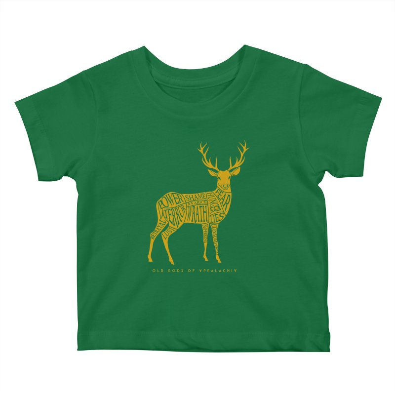 Horned Head: Meatchart Gold Kids Baby T-Shirt by OLD GODS OF APPALACHIA