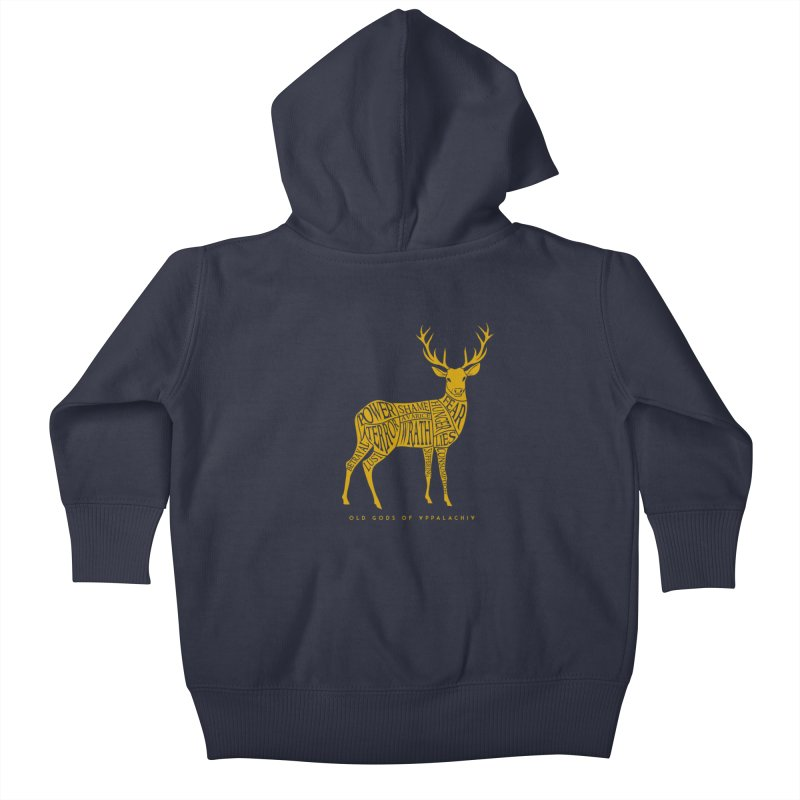 Horned Head: Meatchart Gold Kids Baby Zip-Up Hoody by OLD GODS OF APPALACHIA