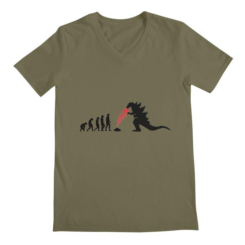 Evolution Godzilla Men's V-Neck by oldtee's Artist Shop