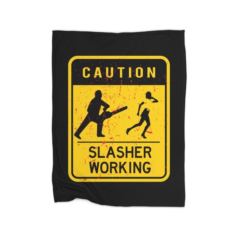 Slasher Working Home Fleece Blanket Blanket by oldtee's Artist Shop