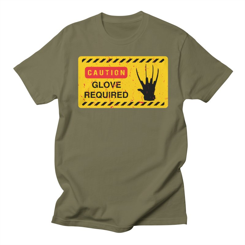 Caution Glove required Men's Regular T-Shirt by oldtee's Artist Shop