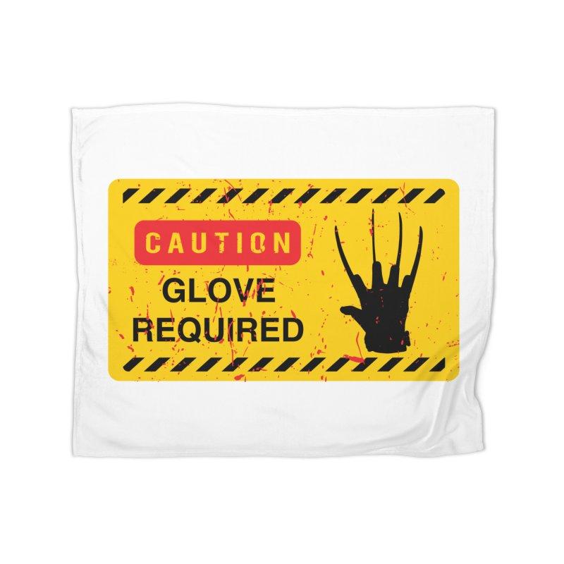 Caution Glove required Home Fleece Blanket Blanket by oldtee's Artist Shop
