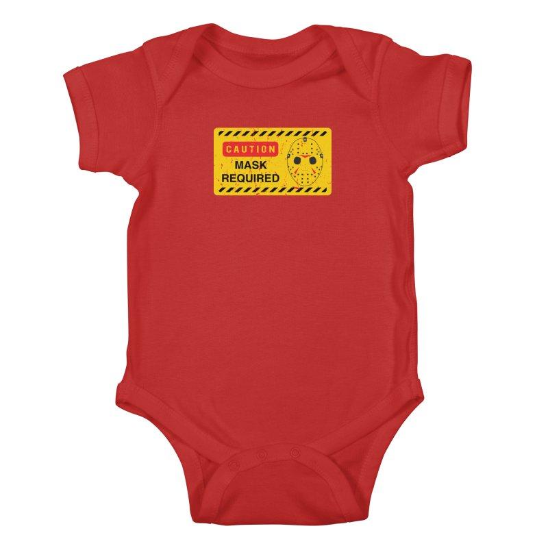 Caution Jason Land Kids Baby Bodysuit by oldtee's Artist Shop
