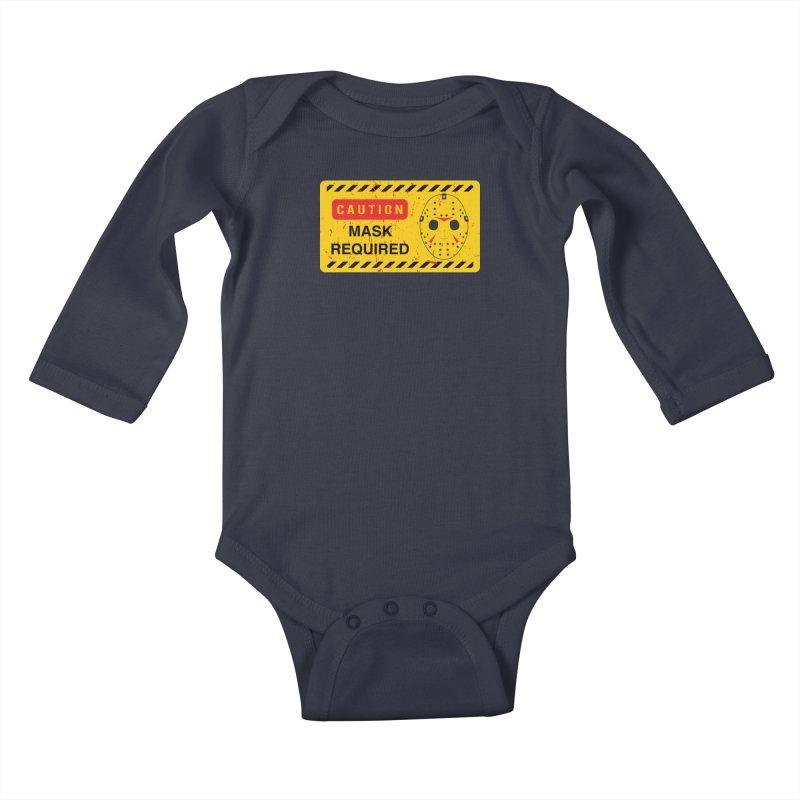 Caution Jason Land Kids Baby Longsleeve Bodysuit by oldtee's Artist Shop