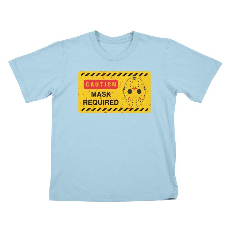 Caution Jason Land Kids T-Shirt by oldtee's Artist Shop
