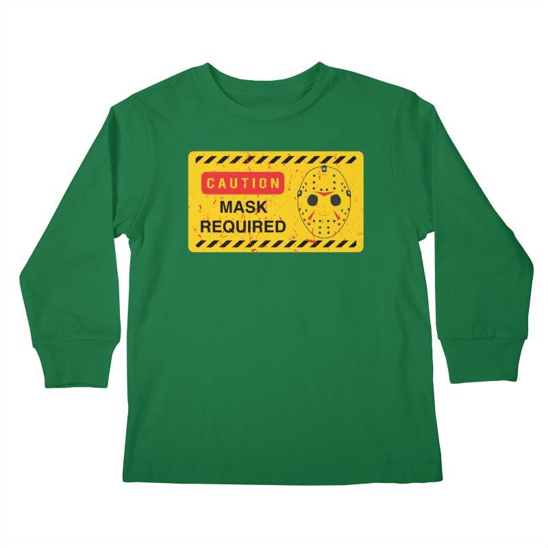 Caution Jason Land Kids Longsleeve T-Shirt by oldtee's Artist Shop