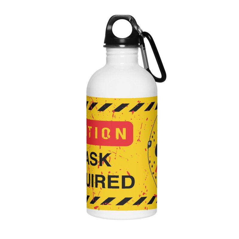 Caution Jason Land Accessories Water Bottle by oldtee's Artist Shop