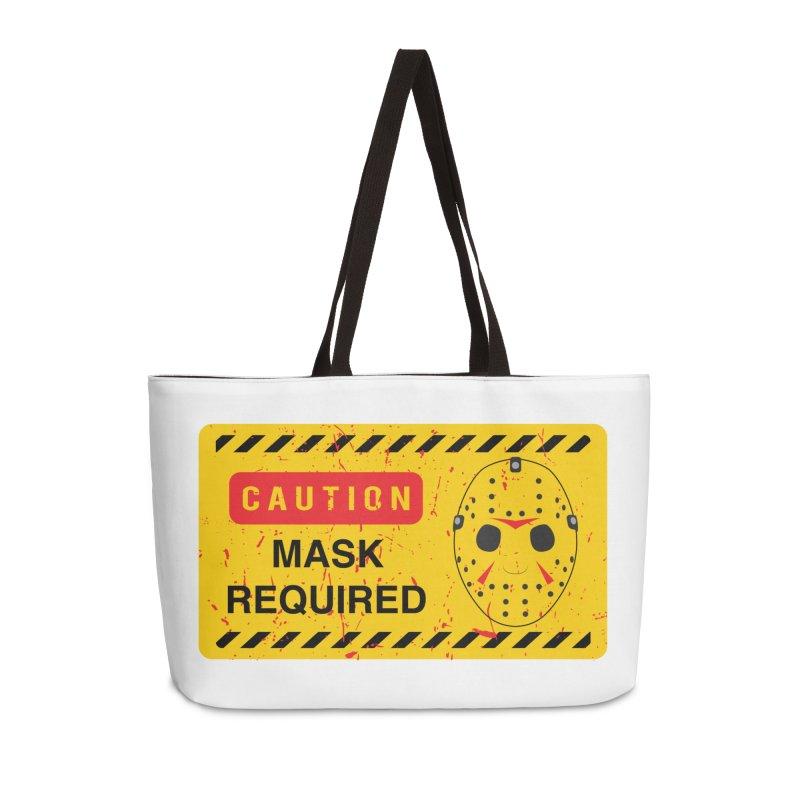 Caution Jason Land Accessories Weekender Bag Bag by oldtee's Artist Shop