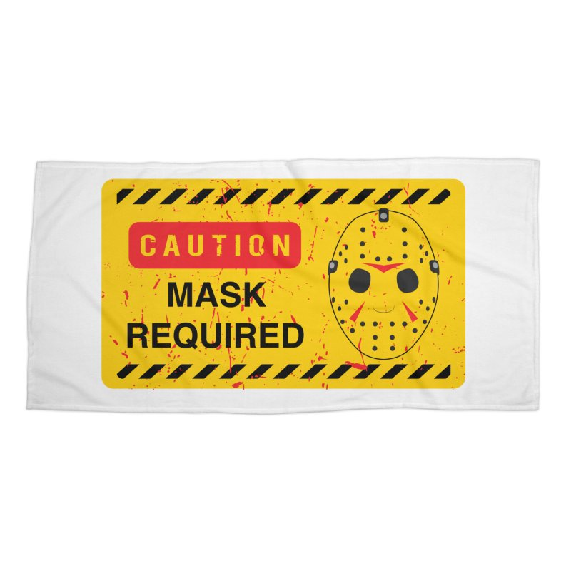 Caution Jason Land Accessories Beach Towel by oldtee's Artist Shop