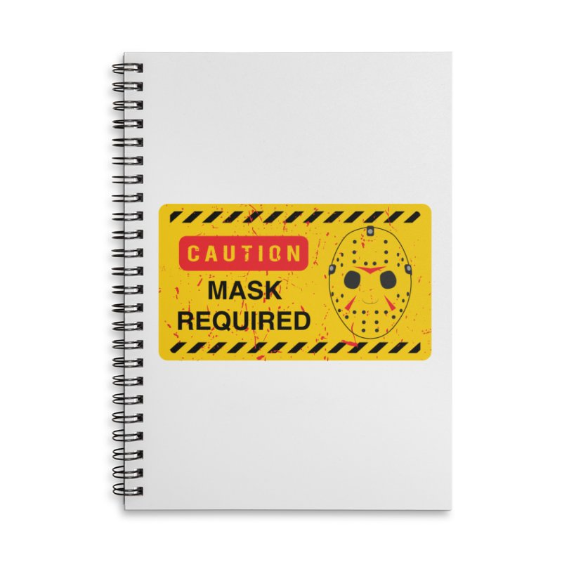 Caution Jason Land Accessories Lined Spiral Notebook by oldtee's Artist Shop