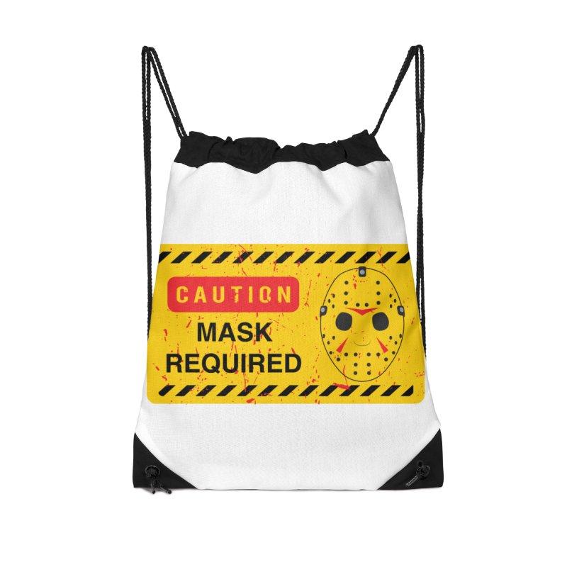 Caution Jason Land Accessories Drawstring Bag Bag by oldtee's Artist Shop