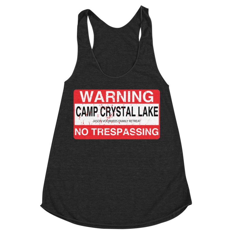 Camp Crystal Lake no trespassing Women's Racerback Triblend Tank by oldtee's Artist Shop