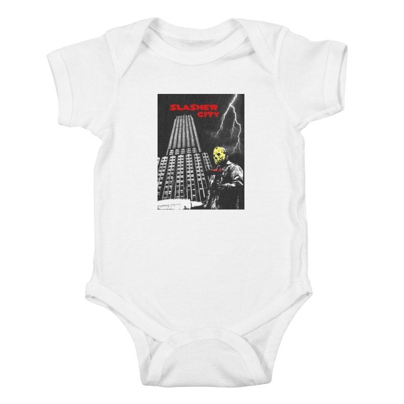 Slasher City Kids Baby Bodysuit by oldtee's Artist Shop