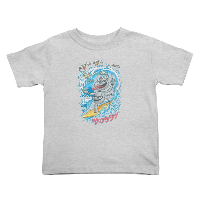 Surfer cat fishing Kids Toddler T-Shirt by oleggert's Artist Shop