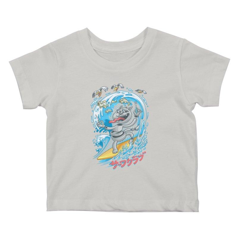 Surfer cat fishing Kids Baby T-Shirt by oleggert's Artist Shop