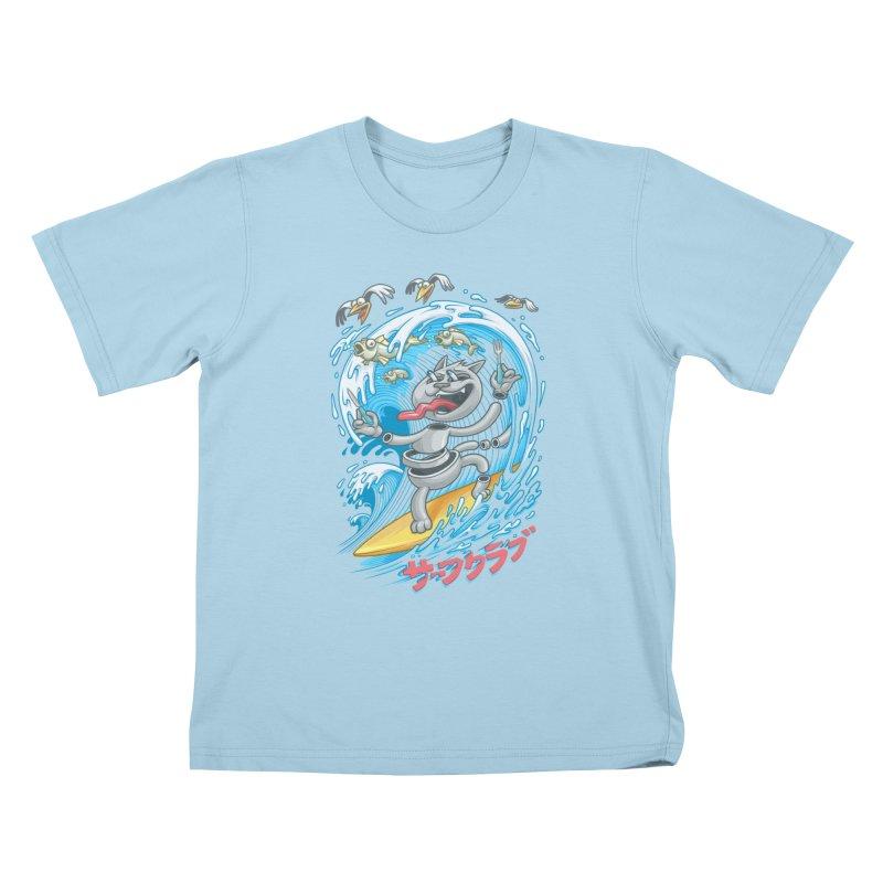 Surfer cat fishing Kids T-Shirt by oleggert's Artist Shop