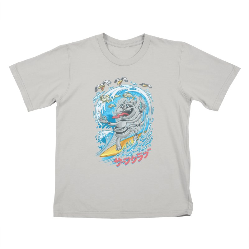 Surfer cat fishing Kids T-shirt by oleggert's Artist Shop