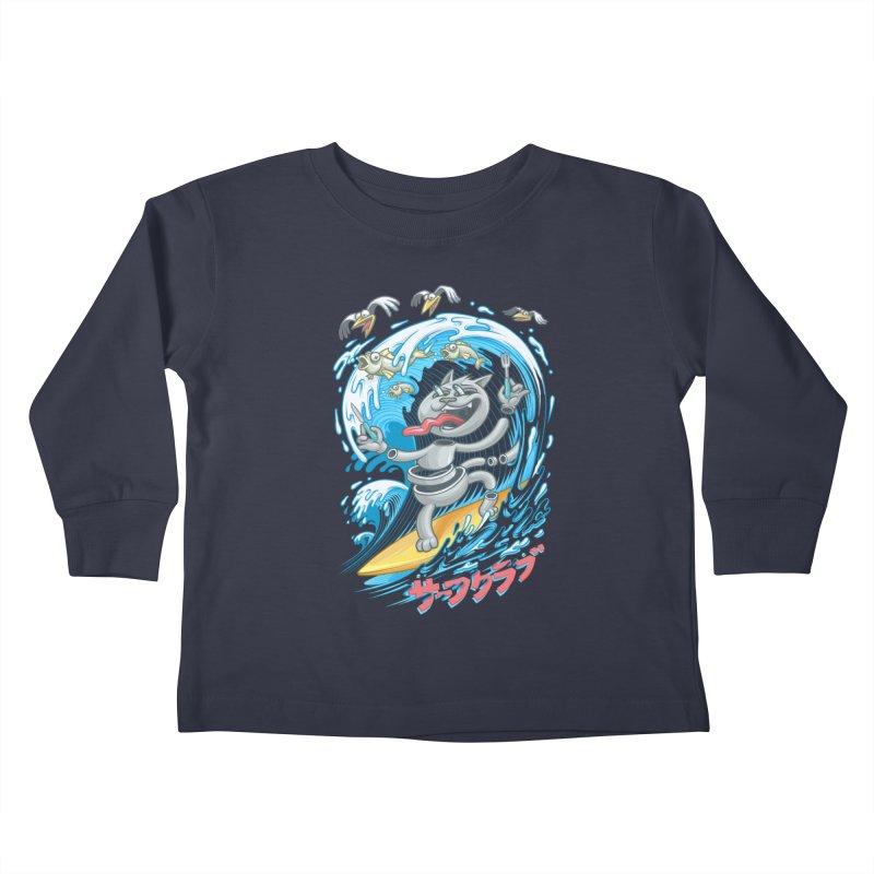 Surfer cat fishing Kids Toddler Longsleeve T-Shirt by oleggert's Artist Shop