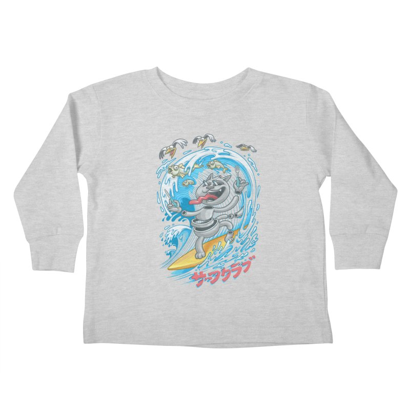 Surfer cat fishing Kids Toddler Longsleeve T-Shirt by oleggert's Artist Shop