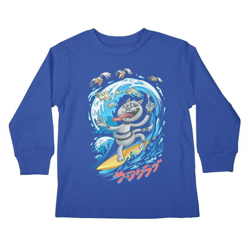 Surfer cat fishing Kids Longsleeve T-Shirt by oleggert's Artist Shop