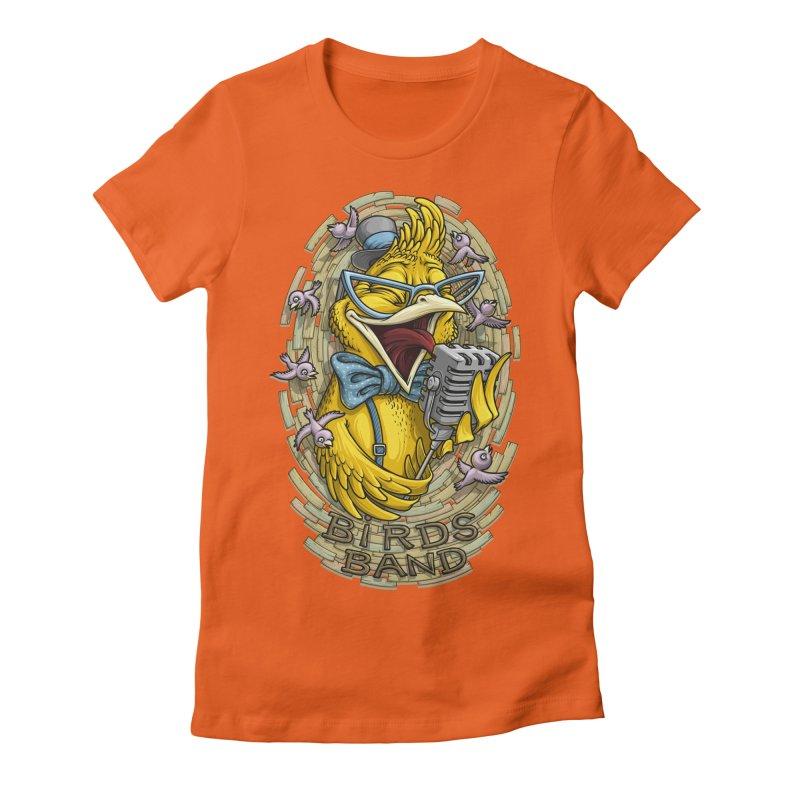 Birds band Women's Fitted T-Shirt by oleggert's Artist Shop