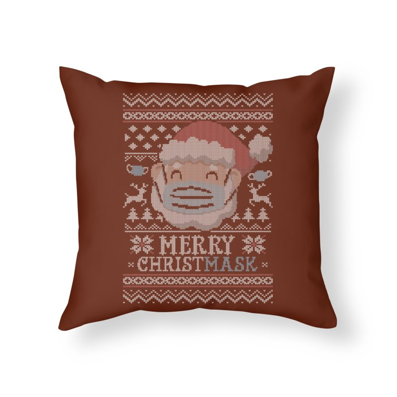 Ugly Christmask Sweater Home Throw Pillow by Olipop Art & Design Shop