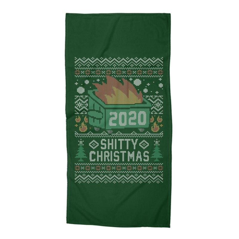 Ugly Shitty Christmas Sweater Accessories Beach Towel by Olipop Art & Design Shop