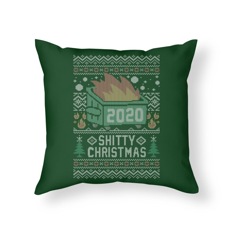 Ugly Shitty Christmas Sweater Home Throw Pillow by Olipop Art & Design Shop
