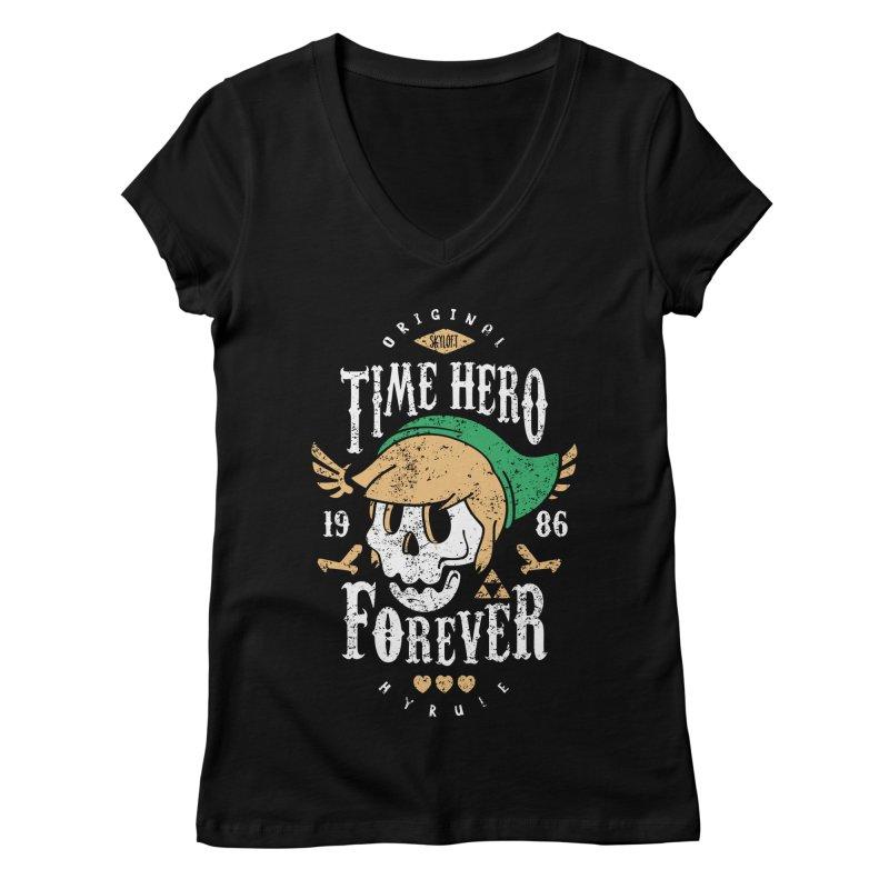 Time Hero Forever Women's V-Neck by Olipop Art & Design Shop
