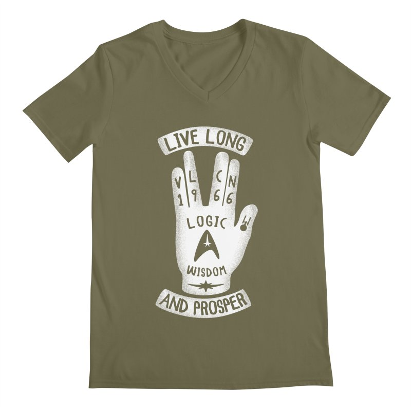Vulcan Hand Men's V-Neck by Olipop Art & Design Shop