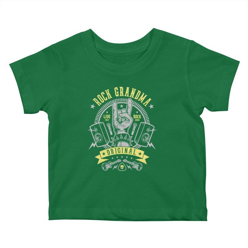 Rock Grandma Kids Baby T-Shirt by Olipop Art & Design Shop