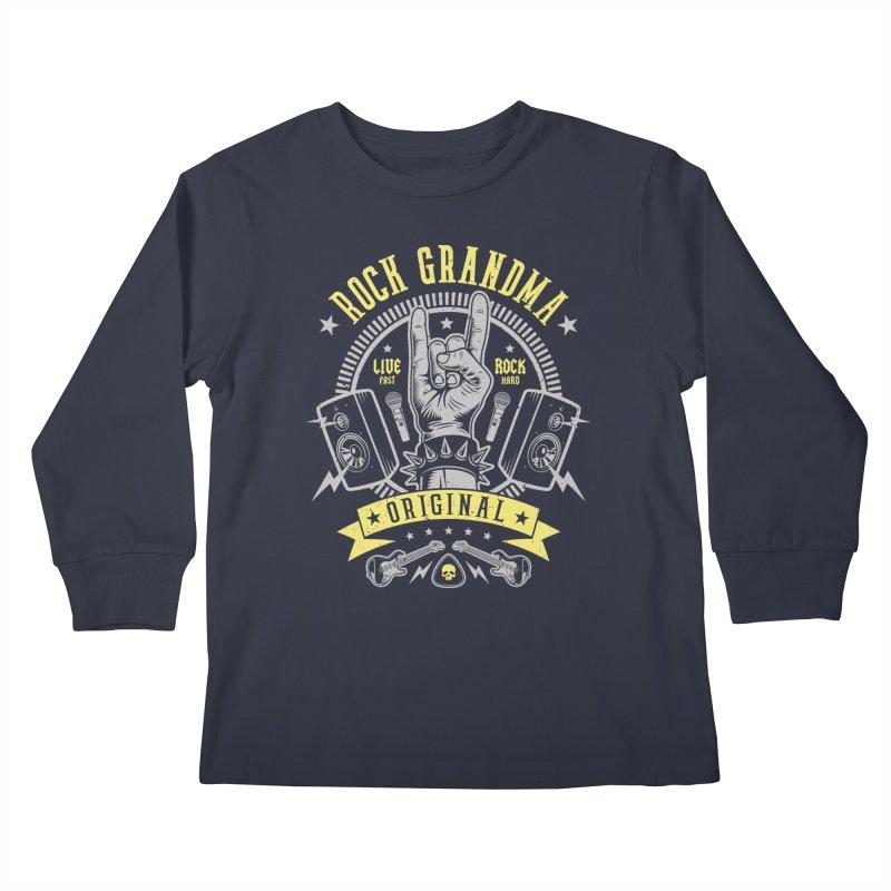 Rock Grandma Kids Longsleeve T-Shirt by Olipop Art & Design Shop