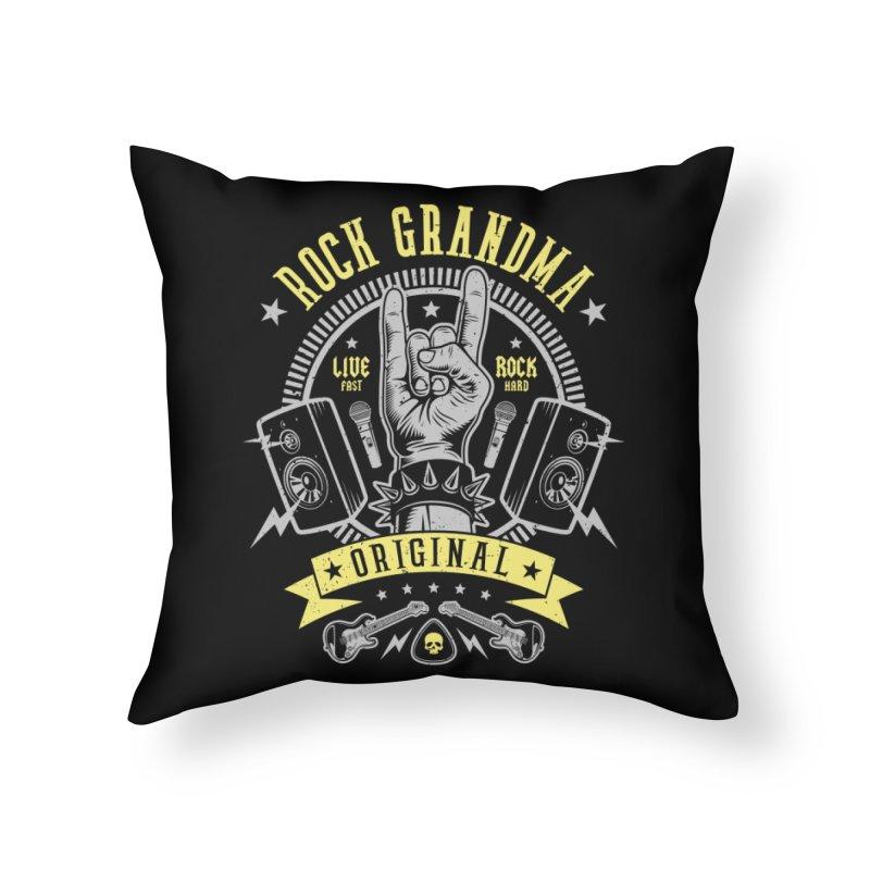 Rock Grandma Home Throw Pillow by Olipop Art & Design Shop