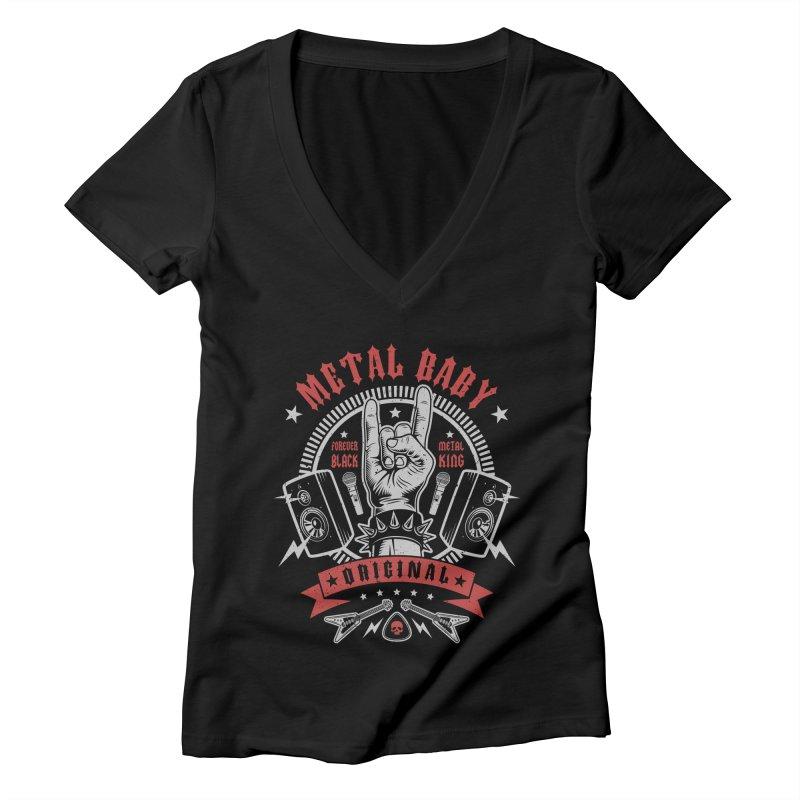 Metal Baby Women's V-Neck by Olipop Art & Design Shop