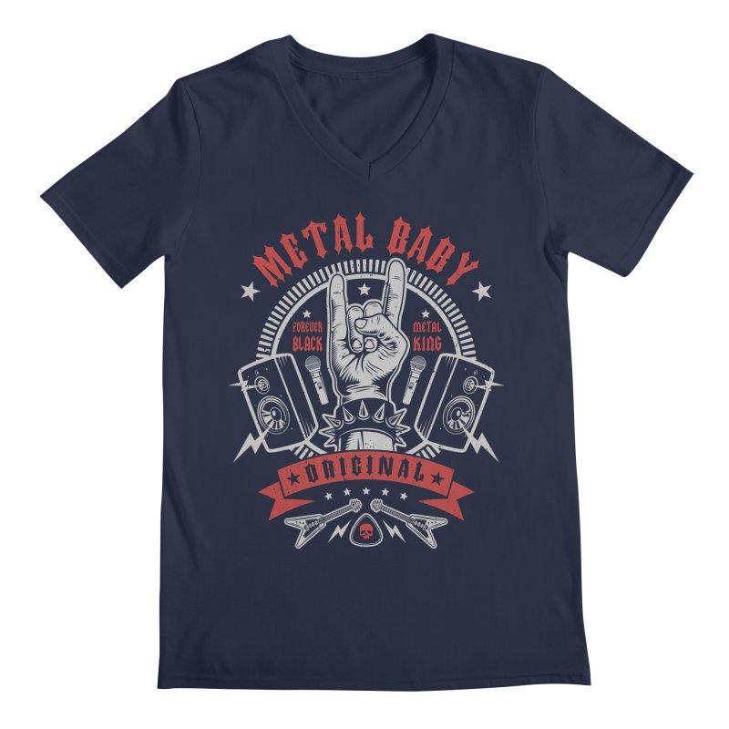 Metal Baby Men's V-Neck by Olipop Art & Design Shop