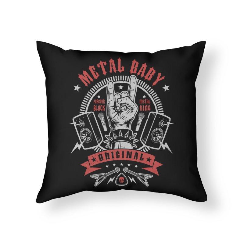 Metal Baby Home Throw Pillow by Olipop Art & Design Shop