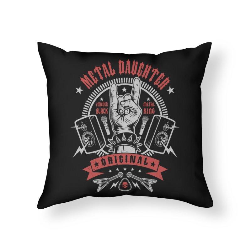 Metal Daughter Home Throw Pillow by Olipop Art & Design Shop