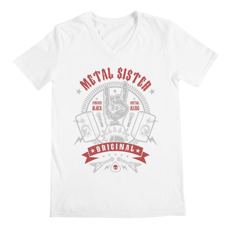 Metal Sister Men's V-Neck by Olipop Art & Design Shop