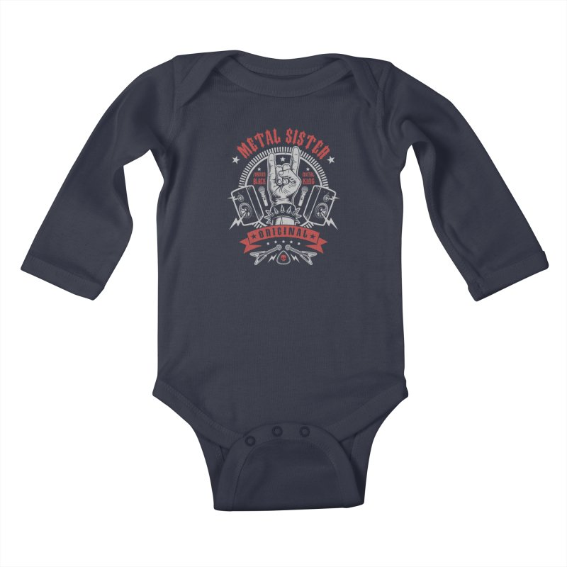 Metal Sister Kids Baby Longsleeve Bodysuit by Olipop Art & Design Shop