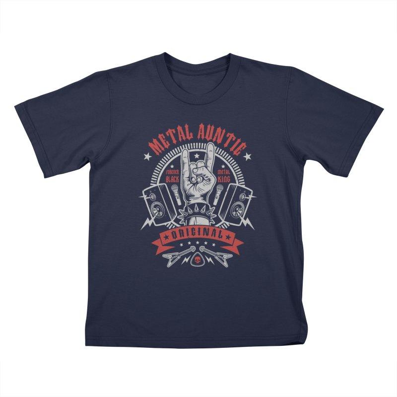Metal Auntie Kids T-Shirt by Olipop Art & Design Shop