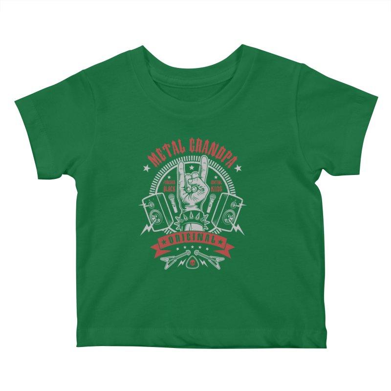 Metal Grandpa Kids Baby T-Shirt by Olipop Art & Design Shop