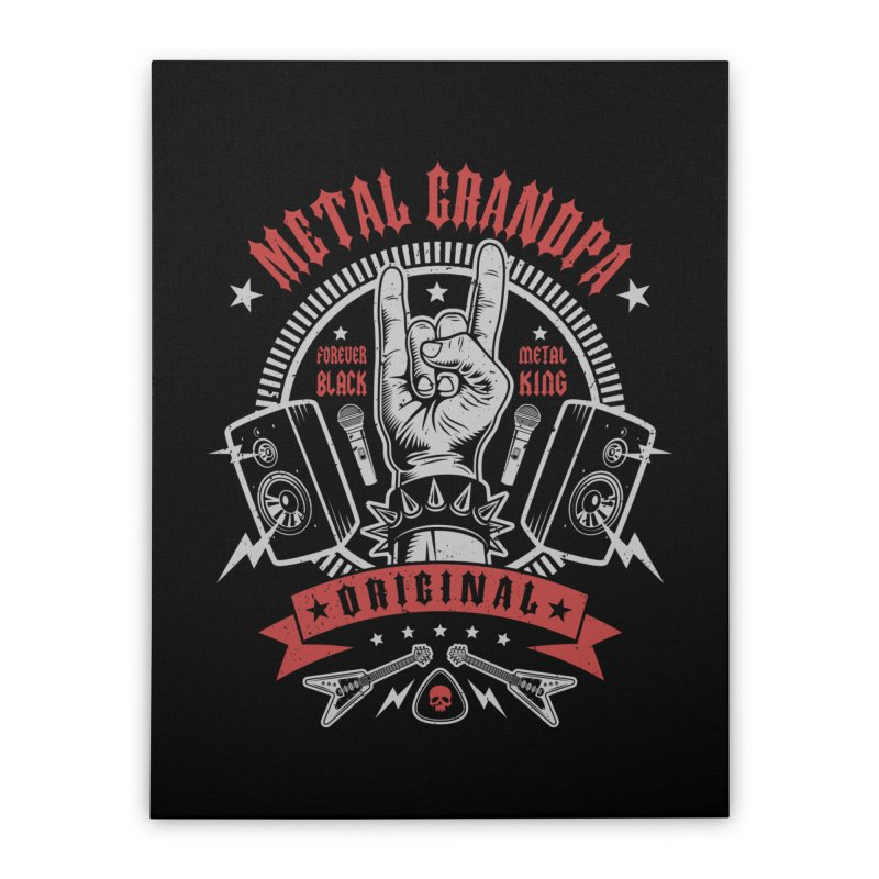 Metal Grandpa Home Stretched Canvas by Olipop Art & Design Shop