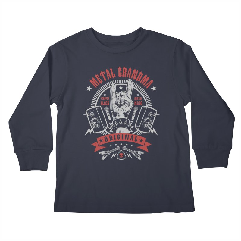 Metal Grandma Kids Longsleeve T-Shirt by Olipop Art & Design Shop