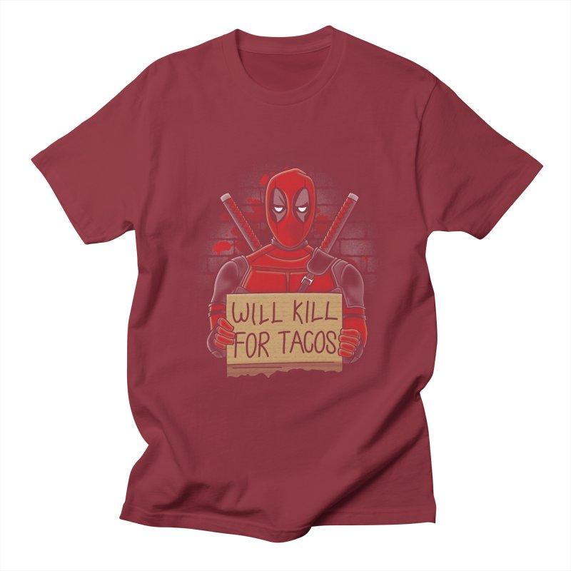 Will Kill for Tacos Men's T-Shirt by Olipop Art & Design Shop