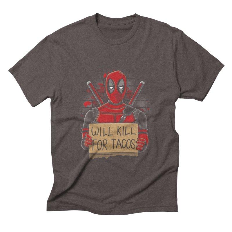 Will Kill for Tacos Men's Triblend T-Shirt by Olipop Art & Design Shop