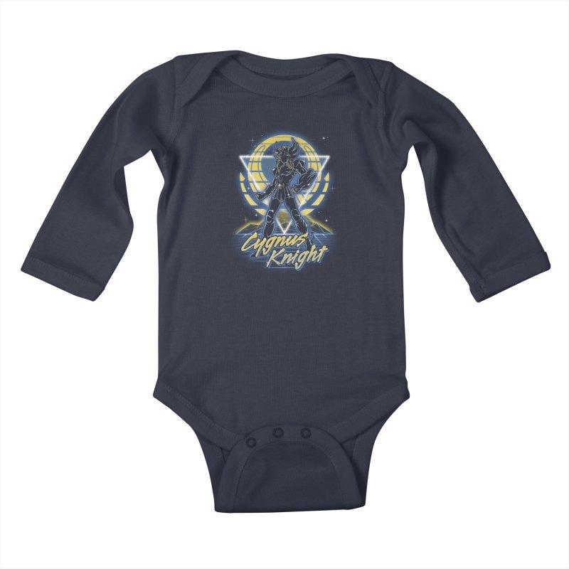 Retro Cygnus Knight Kids Baby Longsleeve Bodysuit by Olipop Art & Design Shop