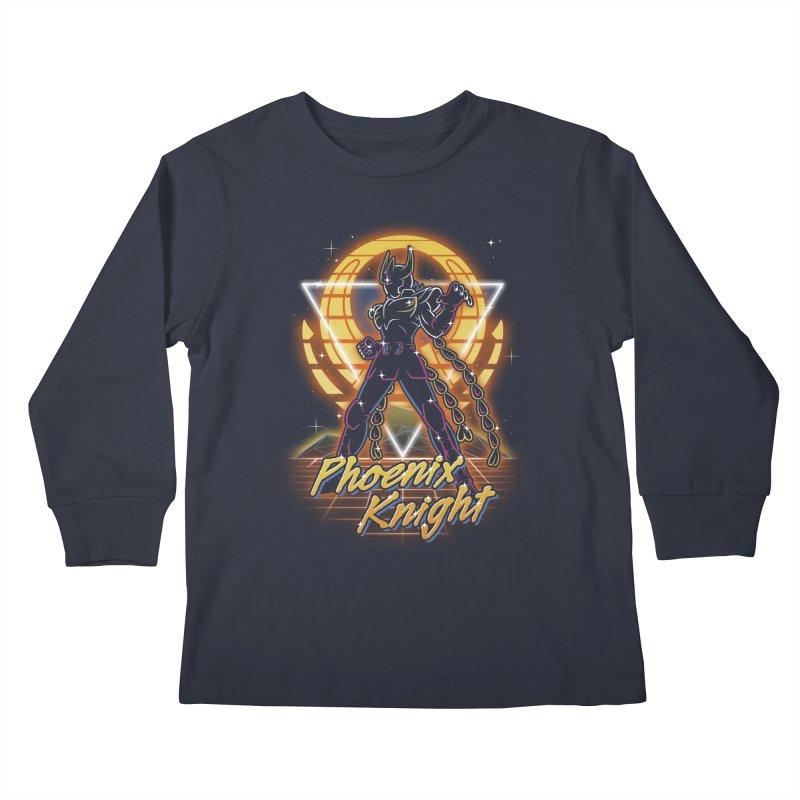 Retro Phoenix Knight Kids Longsleeve T-Shirt by Olipop Art & Design Shop
