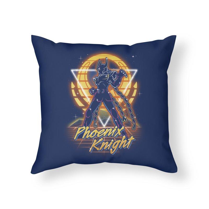 Retro Phoenix Knight Home Throw Pillow by Olipop Art & Design Shop