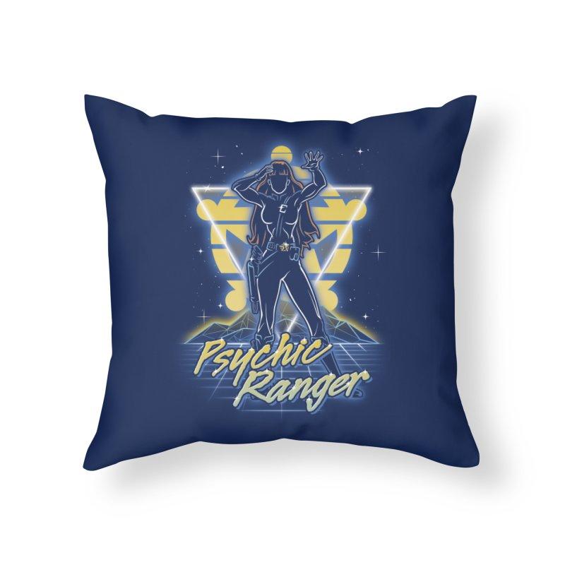 Retro Psychic Ranger Home Throw Pillow by Olipop Art & Design Shop