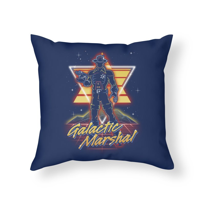 Retro Galactic Marshal Home Throw Pillow by Olipop Art & Design Shop